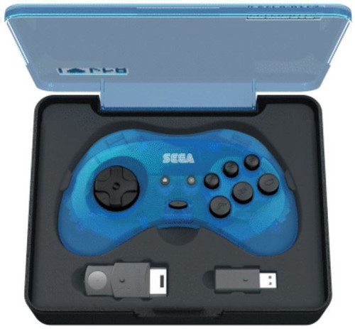 Sega Genesis Sega Saturn 8-Button USB Port Wireless Controller [Clear Blue, 2.4Ghz]