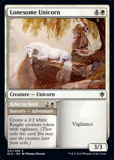 MtG Throne of Eldraine Common Lonesome Unicorn // Rider in Need #21