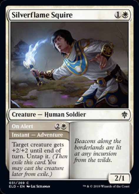 MtG Throne of Eldraine Common Silverflame Squire // On Alert #31
