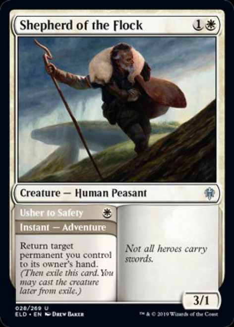 MtG Throne of Eldraine Uncommon Shepherd of the Flock // Usher to Safety #28