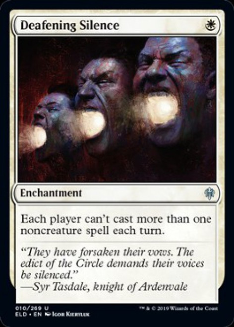MtG Throne of Eldraine Uncommon Foil Deafening Silence #10