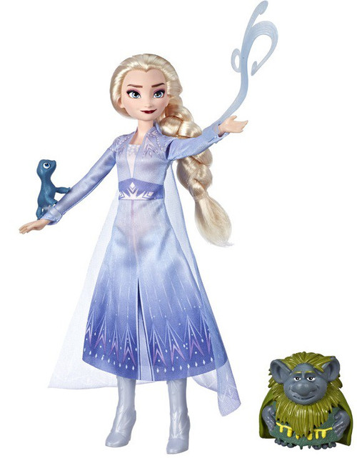 Disney Frozen 2 Story Telling Fashion Elsa in Travel Outfit with Pabbie & Salamander Fashion Doll Set
