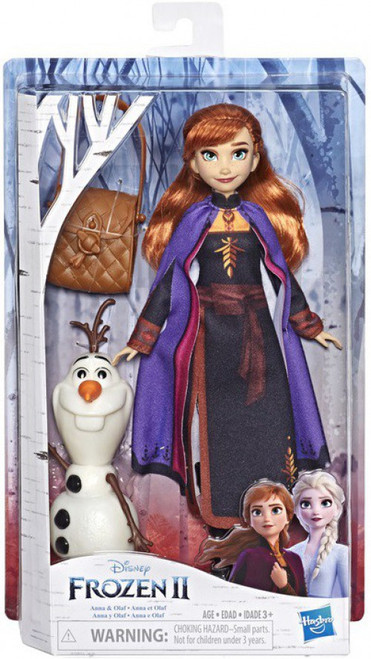 Disney Frozen 2 Story Telling Fashion Anna in Travel Outfit with Buildable Olaf Fashion Doll Set