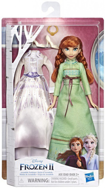 Disney Frozen 2 Arendelle Fashions Anna with 2 Outfits 11-Inch Fashion Doll [Green Nightgown & White Dress]