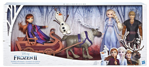 Disney Frozen 2 Sledding Adventures Doll Pack 11-Inch Fashion Doll 5-Pack [Elsa, Anna, Kristoff, Olaf, & Sven with Sled]