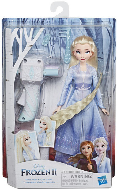 Disney Frozen 2 Sister Styles Elsa Fashion Doll [Extra-Long Blonde Hair, Braiding Tool, & Hair Clips]