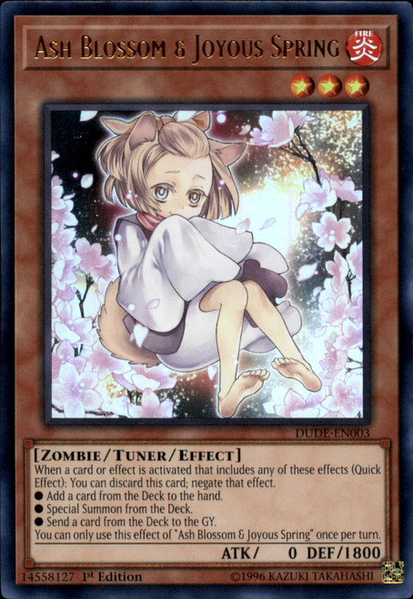 YuGiOh Duel Devastator Ultra Rare Ash Blossom & Joyous Spring DUDE-EN003 [Alternate Art]