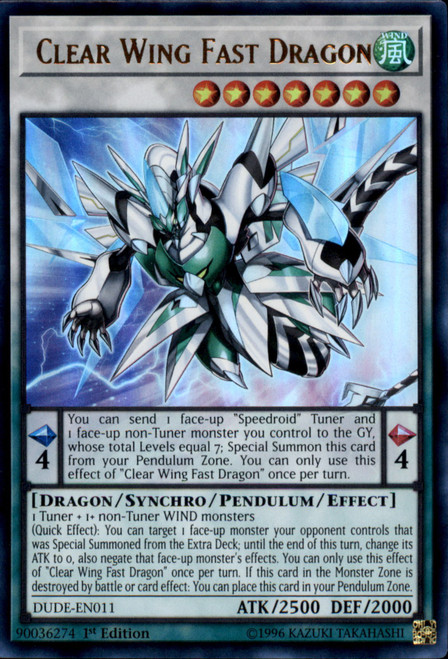 YuGiOh Duel Devastator Ultra Rare Clear Wing Fast Dragon DUDE-EN011