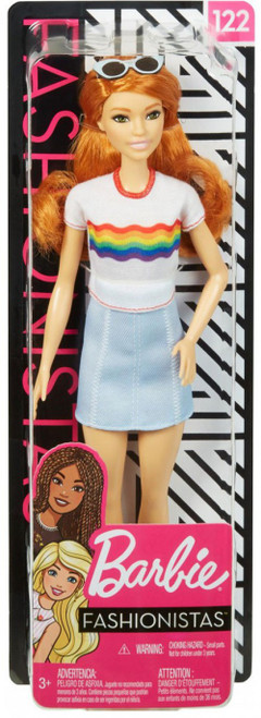 Fashionistas Barbie 13.25-Inch Doll #122 [Red Hair, Rainbow Shirt]