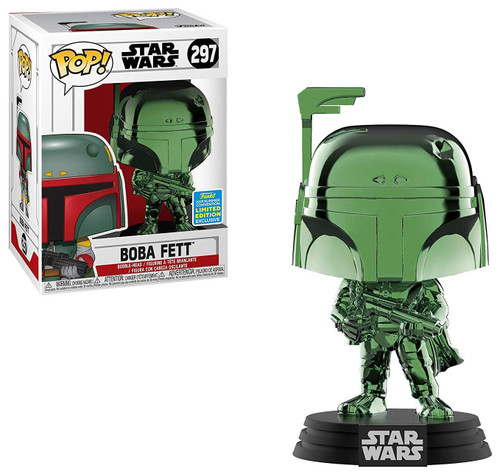 Funko POP! Star Wars Boba Fett Exclusive Vinyl Bobble Head #297 [Green Chrome, Damaged Package]