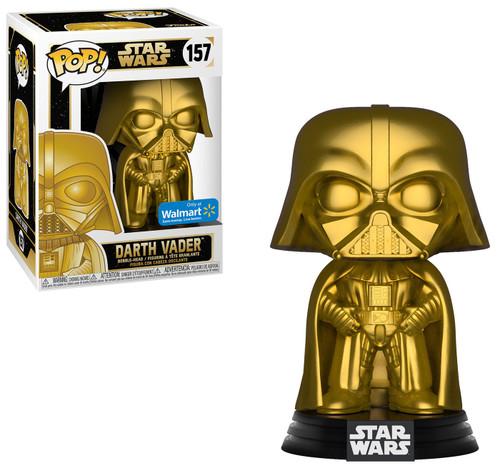 Funko POP! Star Wars Darth Vader Exclusive Vinyl Bobble Head #157 [Gold Metallic, Black Box, Damaged Package]
