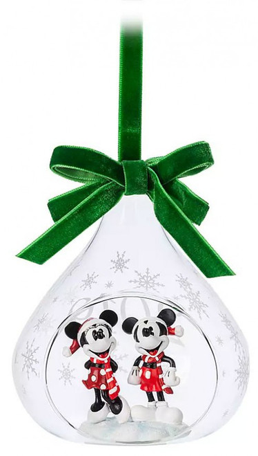Disney 2019 Holiday Mickey & Minnie Mouse Exclusive Glass Drop Sketchbook Ornament