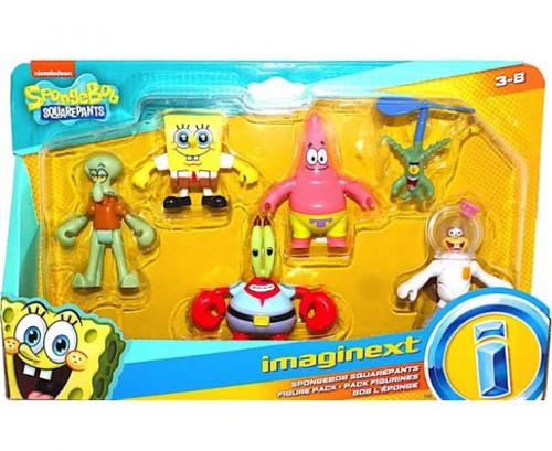 Fisher Price Spongebob Squarepants Imaginext Squidward, SpongeBob, Mr. Krabs, Patrick, Plankton & Sandy Exclusive Mini Figure 6-Pack