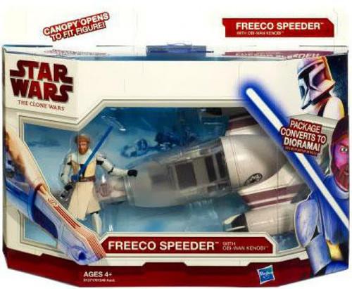 Star Wars The Clone Wars 2010 Freeco Speeder with Obi-Wan Kenobi Action Figure & Vehicle