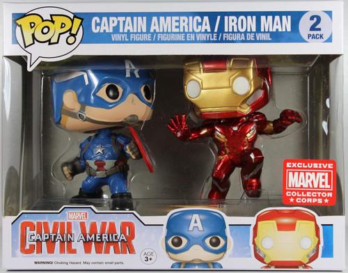 Funko Civil War POP! Marvel Captain America & Iron man Exclusive Vinyl Bobble Head 2-Pack [Marvel Collector Corps]