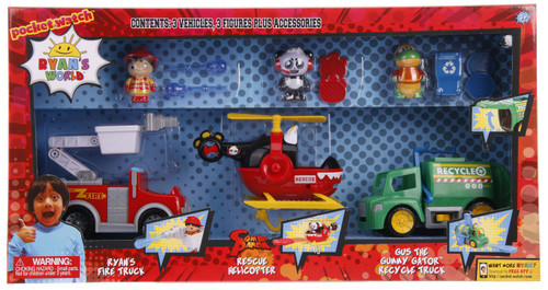 Ryan's World Ryan's Fire Truck, Combo Panda Rescue Helicopter & Gus the Gummy Gator Recycle Truck 3-Inch Figure & Vehicle 3-Pack