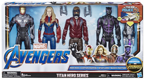 Marvel Avengers Infinity War Titan Hero Series Power FX Iron Man, Captain America, Star-Lord & Black Panther Action Figure 4-Pack