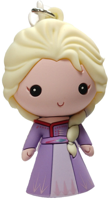 Disney 3D Figural Foam Bag Clip Frozen 2 Elsa Mystery Minifigure [Purple Dress Loose]