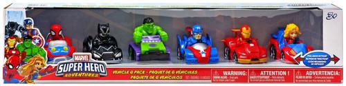 Playskool Heroes Super Hero Adventures Spider-Man, Black Panther, Hulk, Captain America, Iron Man & Captain Marvel Exclusive Pullback Vehicle 6-Pack