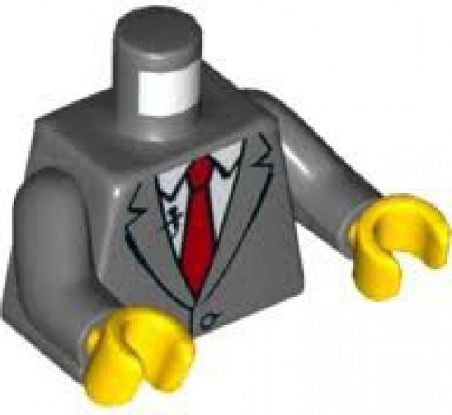 LEGO Dark Bluish Gray Suit Jacket with Red Tie and Lapel Mic Loose Torso [Loose]