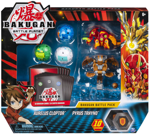 Bakugan Battle Planet Battle Brawlers Aurelus Cloptor & Pyrus Trhyno Battle Pack