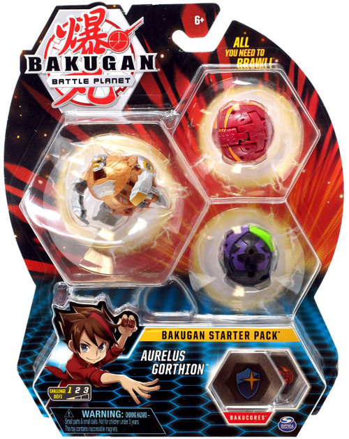 Bakugan Battle Planet Starter Pack Aurelus Gorthion 3-Figure Set