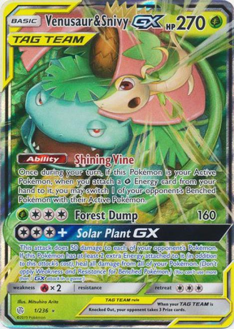 Pokemon Trading Card Game Cosmic Eclipse Ultra Rare Venusaur & Snivy GX #1