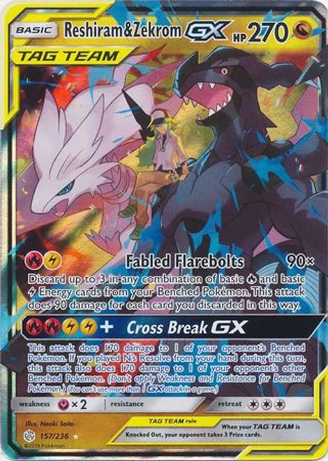 Pokemon Trading Card Game Cosmic Eclipse Ultra Rare Reshiram & Zekrom GX #157
