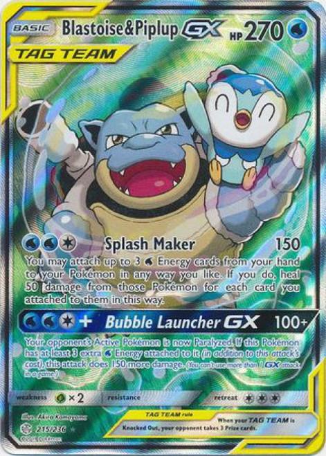Pokemon Trading Card Game Cosmic Eclipse Ultra Rare Blastoise & Piplup GX #215