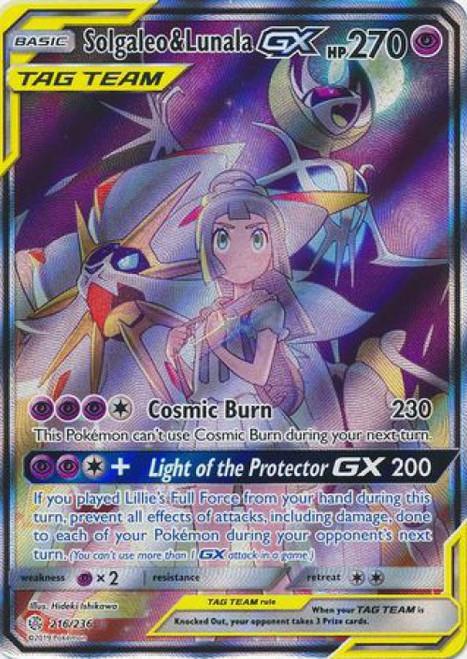 Pokemon Trading Card Game Cosmic Eclipse Ultra Rare Solgaleo & Lunala GX #216