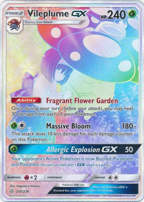 Pokemon Trading Card Game Cosmic Eclipse Hyper Rare Vileplume GX #250