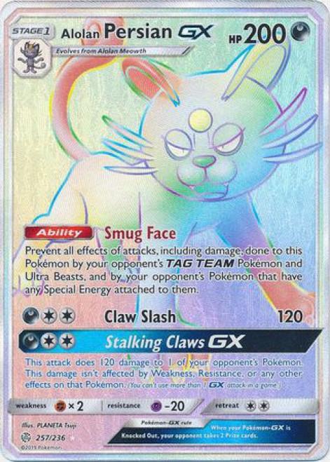 Pokemon Trading Card Game Cosmic Eclipse Hyper Rare Alolan Persian GX #257
