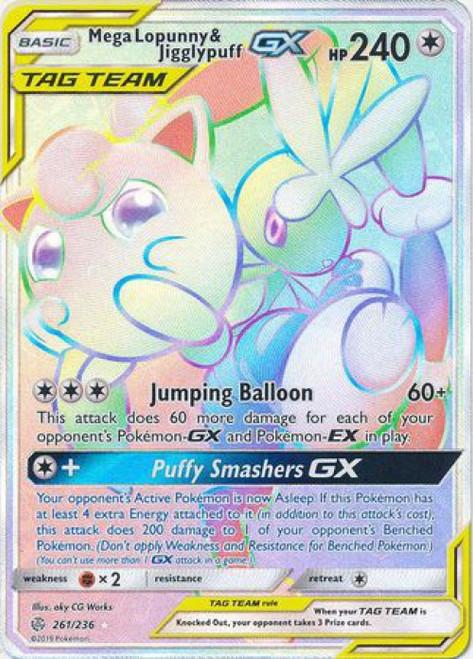 Pokemon Trading Card Game Cosmic Eclipse Hyper Rare Mega Lopunny & Jigglypuff GX #261