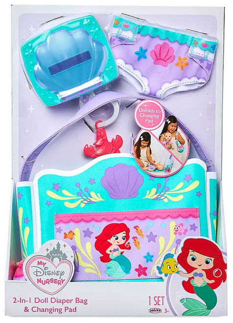 The Little Mermaid My Disney Nursery 2-in-1 Doll Diaper Bag & Changing Pad Exclusive Roleplay Toy