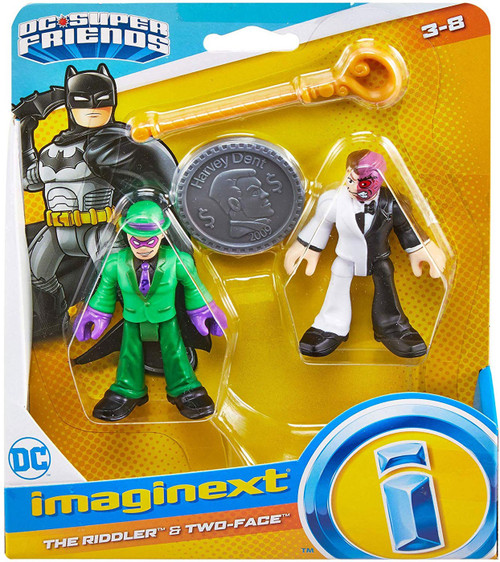 Fisher Price DC Super Friends Imaginext The Riddler & Two-Face 3-Inch Figure Set [with Coin]