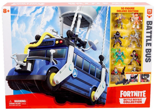 Fortnite Epic Games Battle Royale Collection Battle Bus 2-Inch Playset [10 Figure Deluxe Edition]