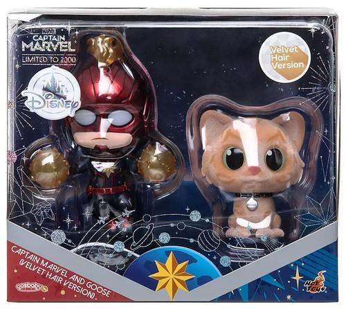 Disney Captain Marvel & Goose Exclusive Bobble Head 2-Pack [Velvet Hair Version]