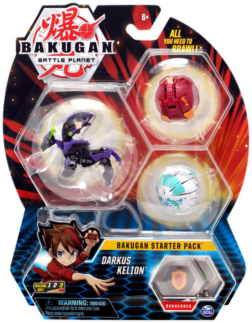 Bakugan Battle Planet Starter Pack Darkus Kelion 3-Figure Set