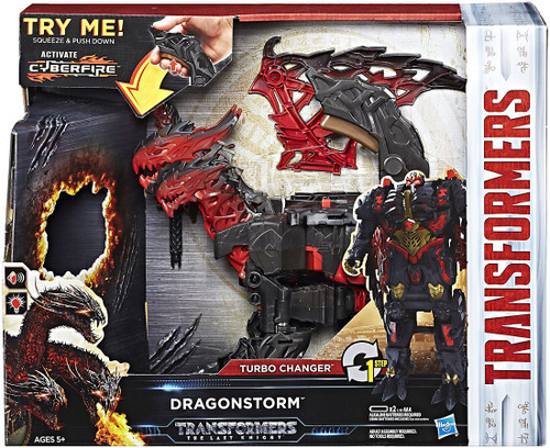 """Transformers The Last Knight MEGA 1 Step Turbo Changer Dragonstorm 4.25"""" Action Figure [Activate Cyberfire]"""