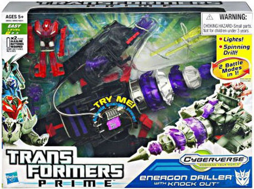 Transformers Prime Cyberverse Commander Energon Driller with Knock Out Commander Action Figure Set [Damaged Package]