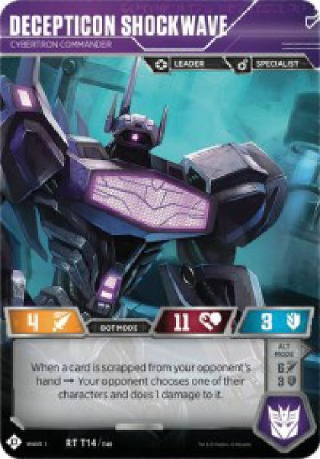 Transformers Trading Card Game Wave 1 Rare Decepticon Shockwave - Cybertron Commander T14