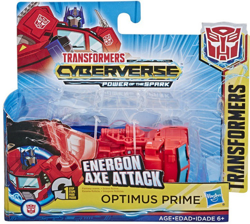 """Transformers Cyberverse Power of the Spark 1 Step Changer Optimus Prime 4.25"""" Action Figure [Energon Axe Attack]"""