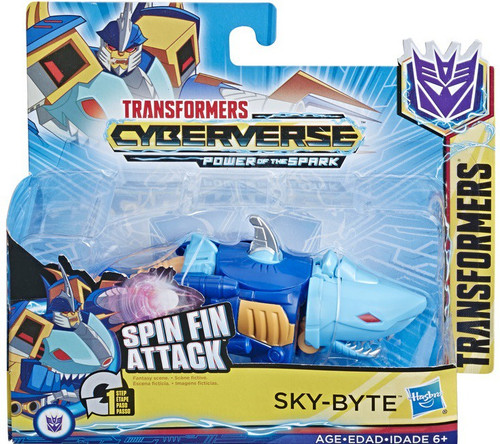 """Transformers Cyberverse Power of the Spark 1 Step Changer Sky-Byte 4.25"""" Action Figure [Spin Fin Attack]"""