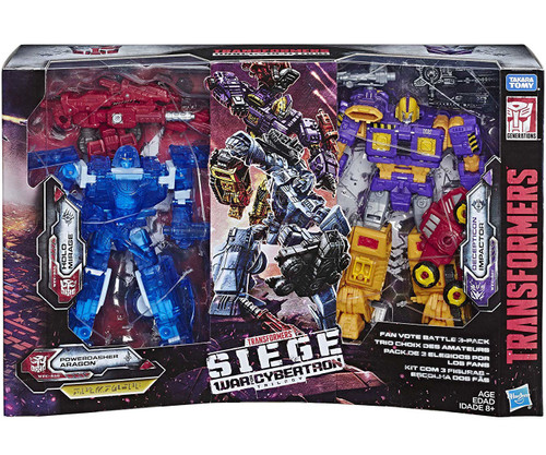 Transformers Generations Siege: War for Cybertron Trilogy Fan Vote Battle Exclusive Deluxe Action Figure 3-Pack [Holo Mirage, Powerdasher Aragon & Decepticon Impactor]