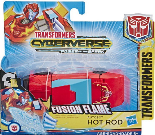 """Transformers Cyberverse Power of the Spark 1 Step Changer Hotrod 4.25"""" Action Figure [Fusion Flame]"""
