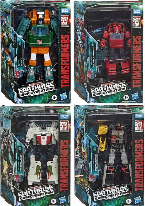 Transformers Generations Earthrise: War for Cybertron Trilogy Hoist, Cliffjumper, Wheeljack, & Ironworks Deluxe Set of 4 Action Figures