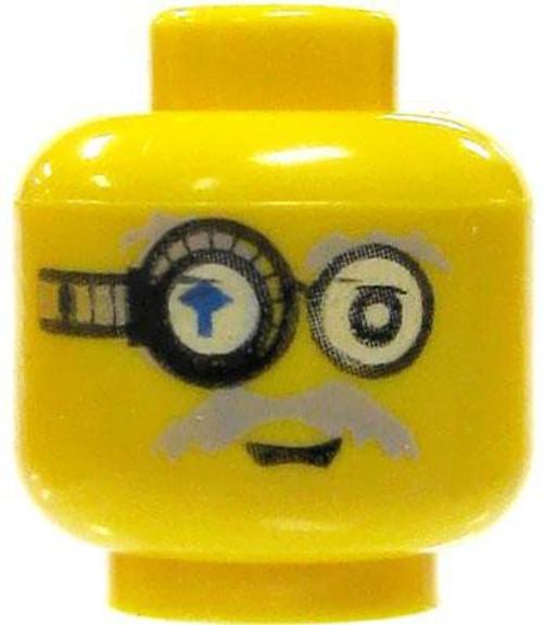 Gray Moustache & Cyber Monocle Calm / Scared Minifigure Head [Yellow Loose]