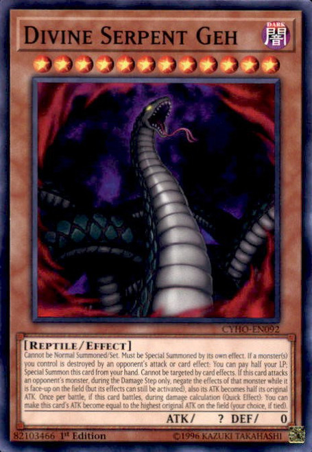 YuGiOh Cybernetic Horizon Common Divine Serpent Geh CYHO-EN092
