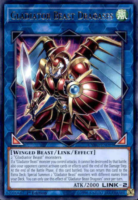 YuGiOh Cybernetic Horizon Rare Gladiator Beast Dragacius CYHO-EN099