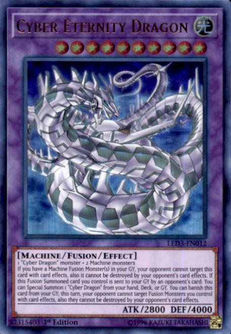 YuGiOh White Dragon Abyss Ultra Rare Cyber Eternity Dragon LED3-EN012